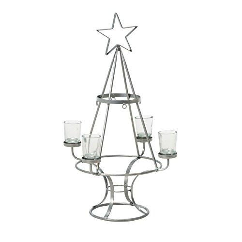 Pureday Weihnachtsdeko - Dekoobjekt Weihnachtsbaum - Kerzenhalter - Metall - Silber - Größe klein