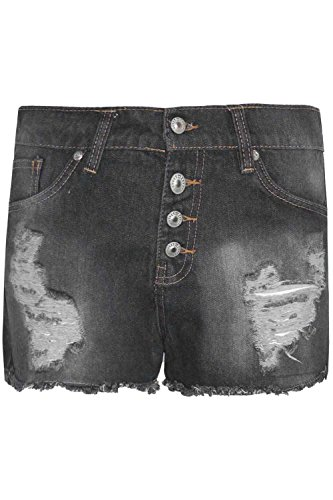 Fashion Star Oops Outlet Womens Ladies Vintage Faded Ripped Denim High Waisted Buttons Pockets Shorts Raw Edges Summer Hot Pants Shorts
