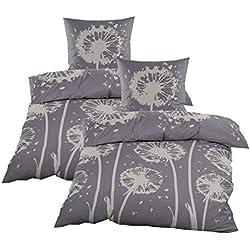 Casa Colori Biber Bettwäsche mit Reißverschluss Garnitur 4 TLG. Grau mit Pusteblumen Muster, Größe:135x200cm