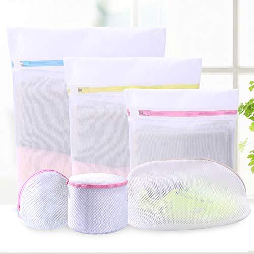 6 Stück Wäschenetz,Wäschesack Wäschetasche Set mit Reißverschluss für Waschmaschine Trockner,Bluse,Strumpfwaren,BH,Unterwäsche,Socken,Baby Kleidung