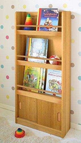 BioKinder Paula Holzregal Kinderregal Bücherregal für Kinder mit Schiebetüren aus Massivholz Erle 23 x 60 x 130 cm (Schiebetür Bücherregal)
