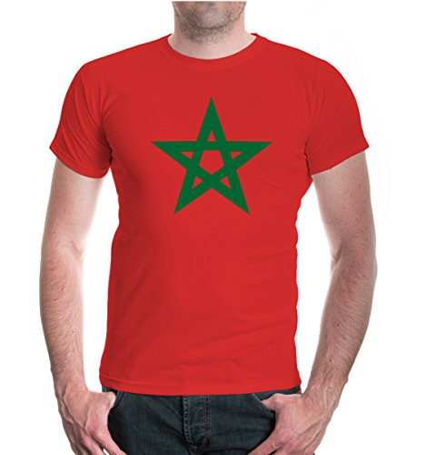 buXsbaum® T-Shirt Morocco Flag Full Size Red-Bottlegreen