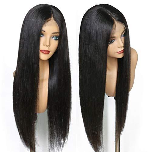 LONG&LONG Echthaar Perücke Blond Highlight Glueless Human Hair Half lace Wig Glatt 150% Dichte met Baby Hair,24INCH