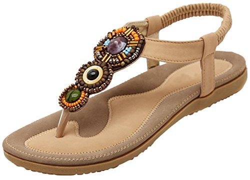 BIGTREE Thong Sandalen Damen von Strand Bohemian Perlen Atmungsaktiv Soft Elastisch Flach Sandalen Beige 40 EU (Sandalen Zehenring Kleid)