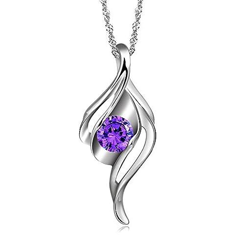 925 Sterling Silber lila österreichischen Kristall Schmuck 8,5 * 20mm