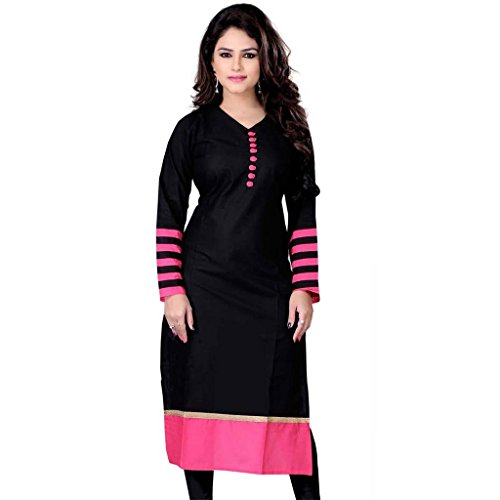 Julee Women's Indo Cotton Fabric Plain kurtis In Black & Pink Color  available at amazon for Rs.149