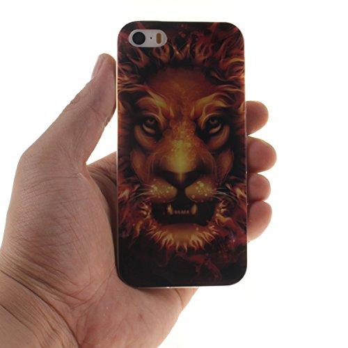 iPhone 5S Etui, Coque Case de Protection pour Apple iPhone 5 5S / iPhone SE Anti Choc, Très Mince Poids Léger TPU Joli Coloré Peinture Motif Serie - Lion noir Noir-3