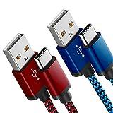 Fundro Für Samsung Galaxy S8 USB C Kabel, [2-Pack 0.9M / 3FT] Nylon USB Type C Kabel für Samsung Galaxy S9 Plus / Note 8 / Note 9, Huawei Mate 20 / P20 Lite, LG G6,Xiaomi 8 und mehr (Rot und Blau)