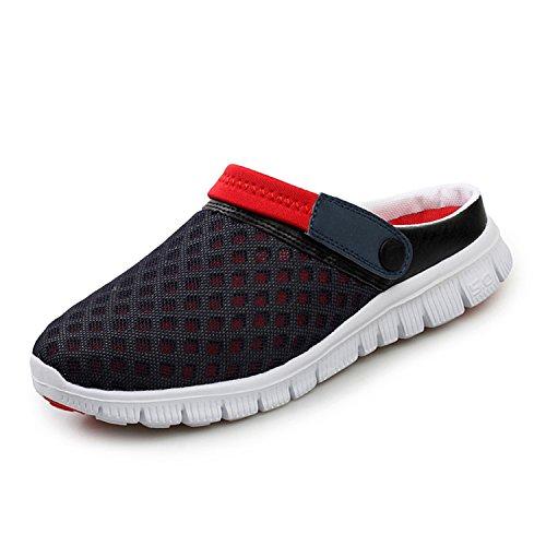 SAGUARO Unisex Respirable de la Red del Acoplamiento Zapatillas de Playa Ahueca hacia Fuera Las Sandalias, Rojo 40