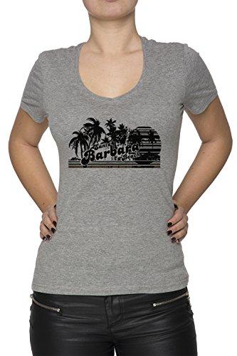 Santa Barbara Beach Donna V-Collo T-shirt Grigio Cotone Maniche Corte Grey Women's V-neck T-shirt