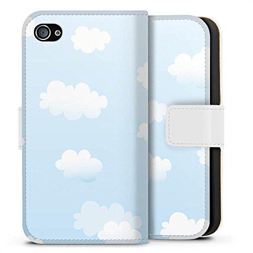 Apple iPhone X Silikon Hülle Case Schutzhülle Wolken Himmel Wolkenmuster Sideflip Tasche weiß
