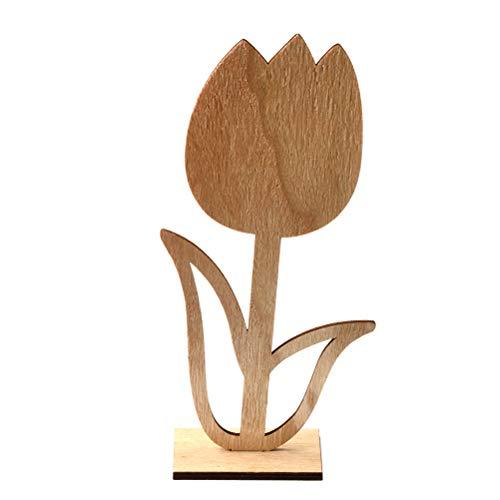 Amosfun Hölzerne Tulpe verziert Ostern-Tischplattendekoration für Partei-Speicher-Innenministerium