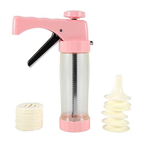 Yosoo Cookie Keks Maschine Presse Maschine Bakeware Kuchen dekorieren Tipps Icing Gun Set Back Kit Plus 16 Moulds + 6 Düsen Küche Werkzeug (Rosa)