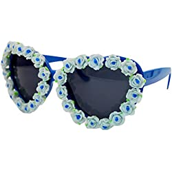 AiSi Damen 3D Blumen Sonnenbrille Anti-UV Brille One Size blau
