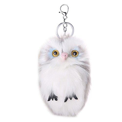 Niedliche Eule Fell Ball Pom Pom Schlüsselanhänger Key Ring Kette Dekoration für Handtasche Auto Schlüssel, hellgrau (Halloween-kostüme Für Arbeit Niedliche)
