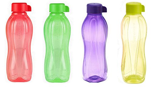 4 X Tupperware Eco Safe Water Bottle (1 Ltr. Each) Assorted Colors by Tupperware Tupperware Safe