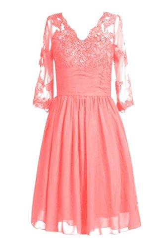 Fanciest Women' V Neck Kurz Spitzen Mother of the Bride Kleides with Sleeves Rot Coral