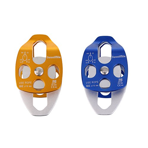 ELECTROPRIME 32KN Double Pulley Sheave for 15mm Rope Climbing Arborist Dragging Lifting