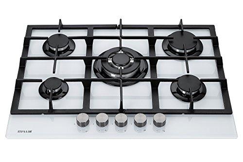 Millar GH7051TW Plaques de cuisson en Verre trempé avec 5 brûleurs à gaz Blanc 70 cm/Table de Cuisson