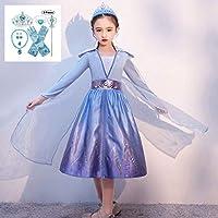 JJAIR Niñas Reina Vestido de la Princesa, Vestido de Partido de Halloween Cosplay del Vestido de la Princesa del Traje de Lentejuelas Partido Malla hacia Arriba con la Manga y del Accesorio,110