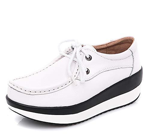 lovejin Mujer Cuña Zapatos Cuero Ocio Zapatillas de Deporte Plataforma Zapatos Adelgazantes de Fitness Sneakers