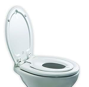 Bemis Orlando Next Step Sta-Tite Formholz/Themoplastik WC-Sitz für Kinder/Erwachsene mit Absenkautomatik-/SmartLift-Scharnieren aus Kunststoff, 1 Stück, weiß, 4250ELT000