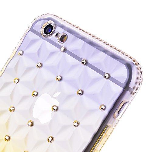 TPU Etui pour iPhone SE / 5 / 5S, HB-Int 4 en 1 Marron Transparente Housse Coloré Coque Fashion Diamant Design Case Gel Silicone Souple Couverture Légère Slim Flexible Coque Protecteur Fonction Anti C Jaune