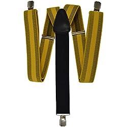 Olata Tirantes Formal 'Y-Forma' con 3 Clips (35mm) y Negro Trasero. Rayas Horizontales Amarillo