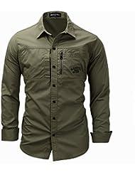 Chemise à manches longues élégante Slim Fit Chemise à col bout en bout bouton M-3XL