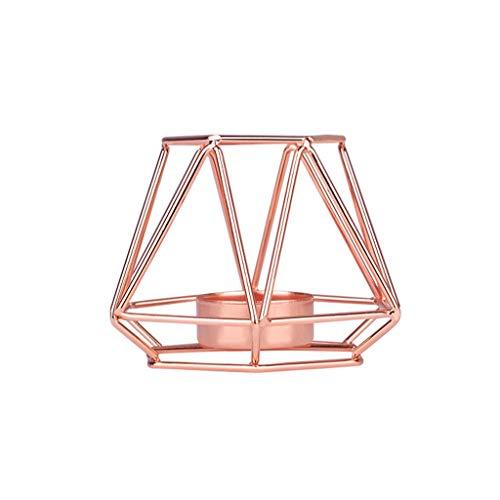 VNEIRW Nordischen Stil 3D Kerzenleuchter,Geometrische Struktur Kerzenständer Windlicht Metall,Kerzenhalter Teelichthalter für Hochzeit Partylite Weihnachten Couchtisch Dekoration (Rosegold, S)