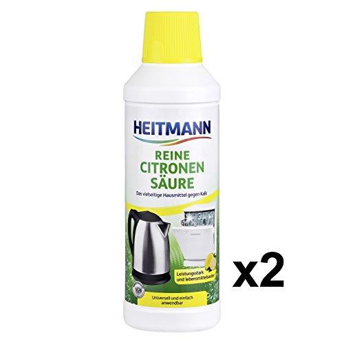 Heitmann Reine Citronensäure: löst hartnäckigen Kalk in Küche und Bad, vielseitiges Hausmittel zur Vorbeugung von Kalkablagerungen, universell anwendbar für regelmäßige, Öko Entkalkung, 2 x 500ml