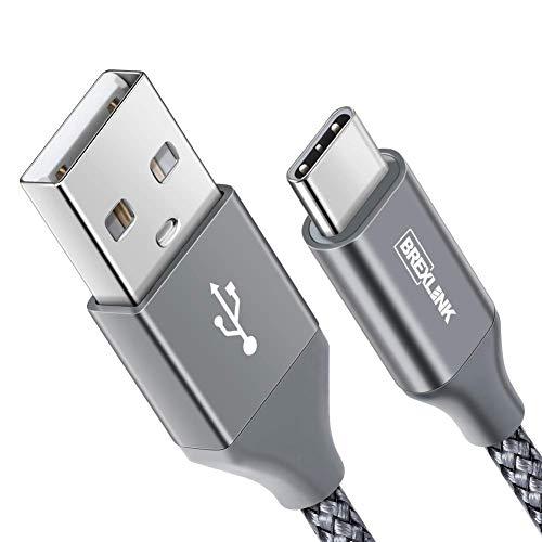 USB C Kabel, BrexLink Nylon USB Type C Ladekabel [2 M] für Samsung Galaxy S9 S8 Plus/Note 9 8, Moto Z, LG G5 G6 V30, Huawei P9/P10/Mate9 10, Sony Xperia XZ, HTC 10/U11, Lumia 950 XL(Space Greu)