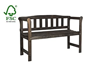 Wooden Garden Bench with a bar rest, weatherproof glazed in colonial color