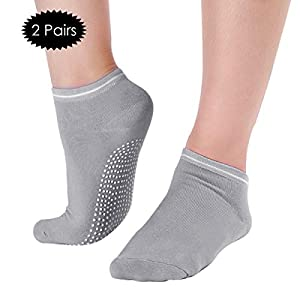 Frauen Männer rutschfeste Yoga Socken Sport Baumwollsocken für Fitness Yoga Dance Workout -Grau 2 Paare