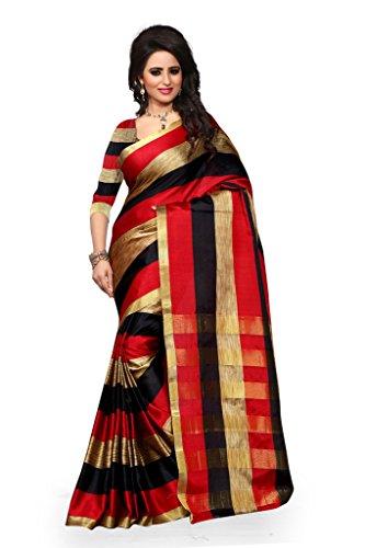 Shree Sanskruti Women's Tassar Silk Saree (Aura Black Red Leriya_Black And Red)