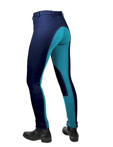Saddlecraft Jiggy Jods Jodhpurs pour enfant Bicolore - Bleu marine/bleu-vert