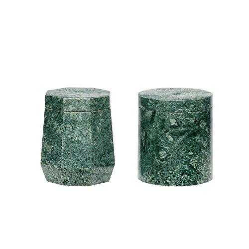 Hübsch Dose mit Deckel, Marmor, grün, 2er Set