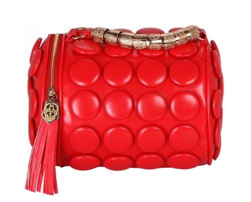 Gaorui-Borsa secchiello con cilindro a frange stereoscopici Borsa messenger tote Bag Rosso (rosso)