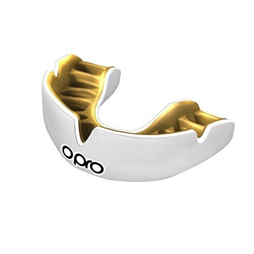Opro Power Fit weiß Mundschutz Single Farbe–Erwachsene (Custom Fit) (Rugby-ball Benutzerdefinierte)