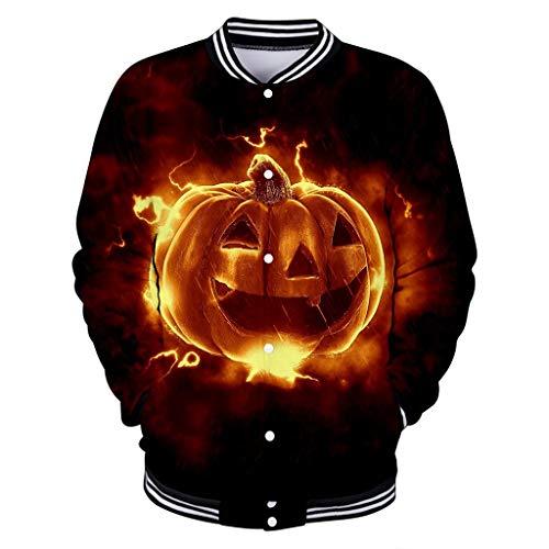 Andouy Herren Horror Halloween Kleidung Komisch 3D Gedruckt Pullover Oberteile Langarm Kapuzenpullover/Baseball Jacke(XXS.Schwarz-4)