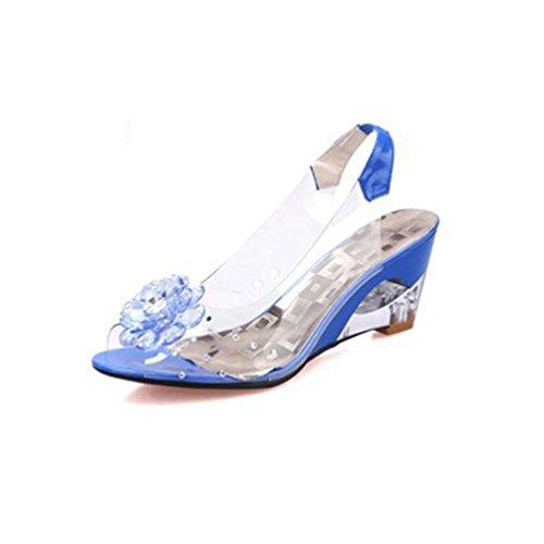 Damen Mode Clear Crystal Peep Toe Wedges Sandalen mit Blume Plattform Glitter Dress ()