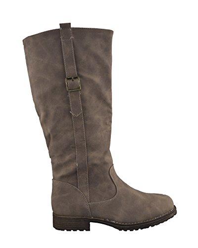 NEW Femme Mesdames genou haute désert d'hiver Biker Boot Casual Taille 3–8UK Kaki