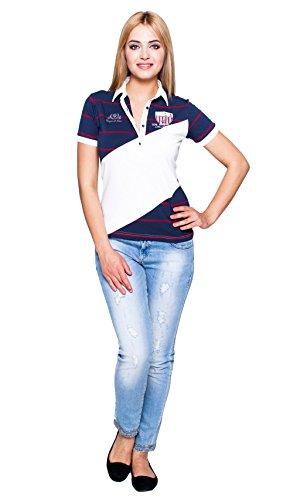 Giorgio Di Mare femme polo manche courte Blanc/Bleu Marine