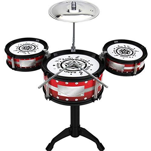 HUANGFU Drum Set Jazz Drum Game Set di 3 Pezzi Batteria Batteria Primaria Batteria per Bambini Musica Rock Drum Giocattolo Strumento Musicale