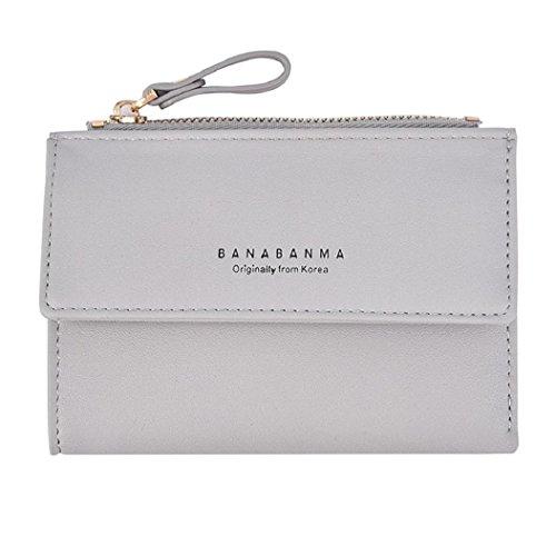 Rovinci Frauen Leder (PU) Brieftasche Kupplung Geldbörse Lady Short Handtasche Tasche (Grau)