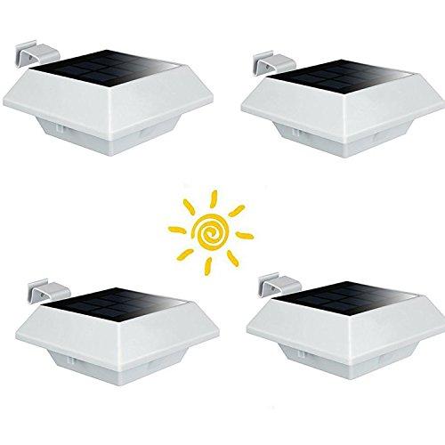 ETiME Solarleuchte Dachrinnen-Leuchte Außenbeleuchtung, Solarlampe, Sonnenzaun-Licht, Wasserdicht IP65 für Dachrinnen Wand Garten Terrasse Treppen Weiß, 4 Stück