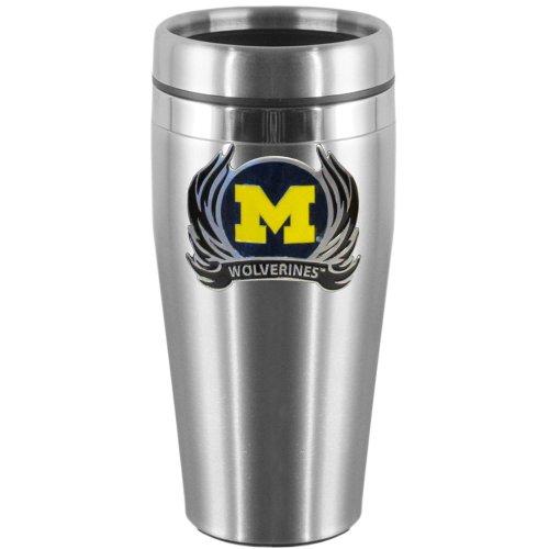 Siskiyou NCAA Michigan Wolverines Reisebecher aus Stahl mit Flammen-Logo