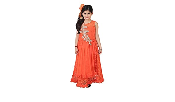 94b44160f40 Qeboo Beautiful Designer Orange Color Party Wear Knee Length Dress for Baby  Girls Girls(Age 3-9 Years)  Amazon.in  Clothing   Accessories