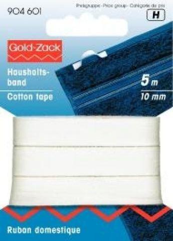 Haushaltsband - Baumwollband, 5m lang, 10mm, weiß
