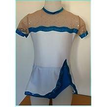 CREATJUSTO Justaucorps GR Modèle Flore Blanc Bleu d7ab1e2279a